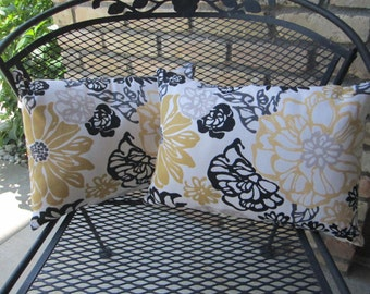 CLEARANCE - Lumbar Pillow Covers - 12 x 16 Inch - Flower Design Yellow Black Gray Grey Cream Taupe White Two Sided Reversible