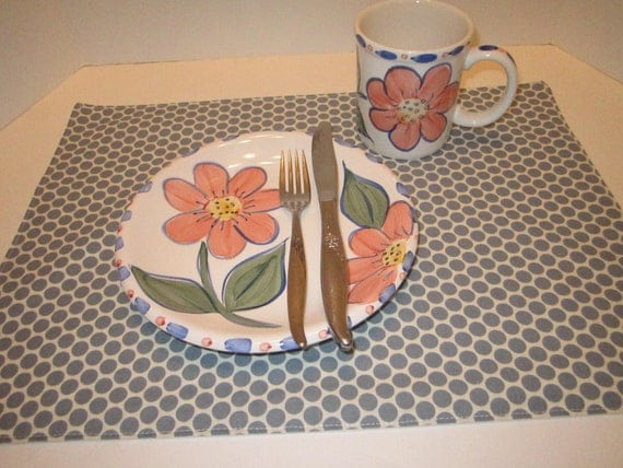 Polka Dot Place Mats Gray and White Modern Design Table Decor Eco Friendly - Set of 6