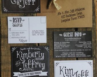 Printable Chalkboard Wedding Invitation Suite - Save 10%
