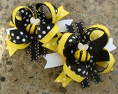 Bumble Bee Hair Bow Mini boutique Hair Bow TWO hair bows Black and yellow bee