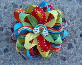 Rainbow Hair Bow Loopy Flower Hair Bow Round Hair Bow
