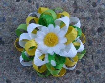 Flower Loopy Hair Bow White yellow green hair bow Daisy Flower hair bow