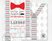 Little Man Bow Tie Mustache Bash Printable Party Invitation - Birthday or Baby Shower - Petite Party Studio