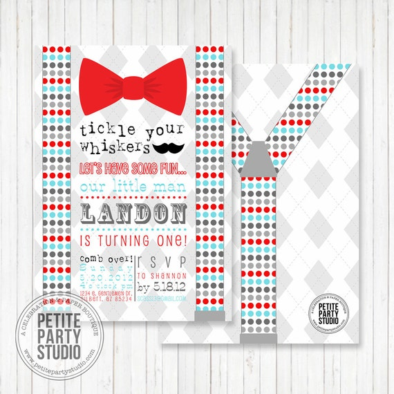 bow tie mustache bash printable party invitation birthday or baby