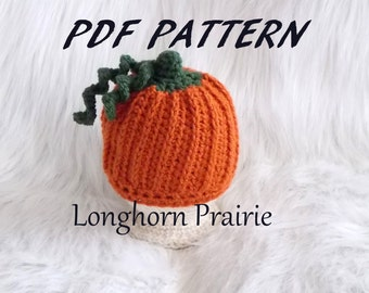 Pumpkin Beanie Hat crochet PATTERN pdf file (all sizes included) instant download