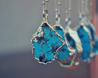 MEDIO AQUA  ///  Redskin /// Turquoise Chunk Necklace /// Electroformed Fine Silver