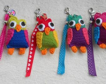 Crochet pattern key chain Stork, Owl or Pony - haakpatroon sleutelhanger Ooievaartje, Uil of Paardjes