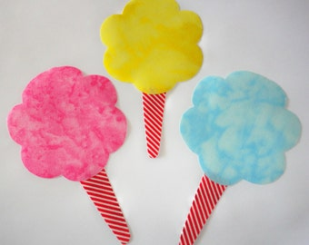 3 Iron On Appliques...Pink Yellow And Blue COTTON CANDY....For Onesie Shirts/Crafts/Scrapbook