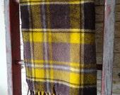 Vintage Wool Lap Blanket Browns Golds