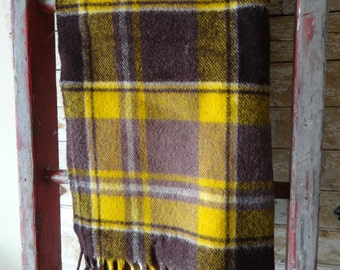 Vintage Wool Lap Blanket Browns Golds