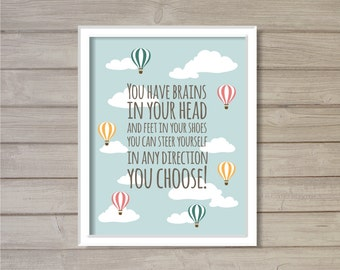 Hot Air Balloon Nursery Wall Art Printable - 8x10- Instant Download Digital Clouds Sky Blue School Library Baby Ro