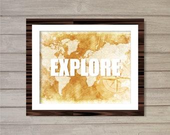 Explore Vintage World Map Distressed Wall Art Printable -8x10- Travel Atlas Wanderlust Digital Print Poster Home Room Decor Interior Design