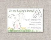 Bunny invitation, Cute bunnies invite, Garden party,PDF printable file