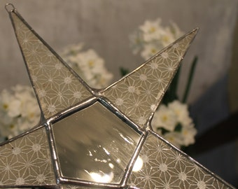 Silver Sparkle Star- 9.5 inch lacquered and mirrored stained glass star