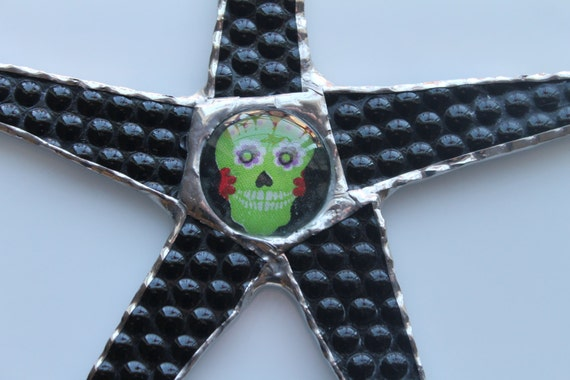 Little Sugar Skulls- 9 inch black stained glass star with little sugar skull center