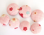 7 large buttons vintage fabric Button Pink button Floral Button Retro Round button Size 45 (11/8 inches) 28 mm