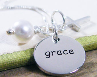 sterling silver two sided word charm necklace grace with cross and pearl
