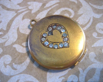 Art Deco Gold Filled Locket with Paste Stone HEART