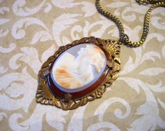 Antique Edwardian Carved Carnelian Cameo GF Necklace