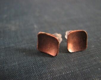 Post Stud Earrings Square Diamond Shaped Earrings Copper Sterling Silver Jewelry Minimalist Metalwork Jewelry