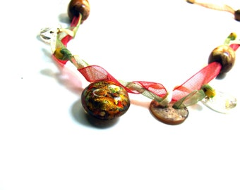 Lampwork Button and Beaded Ribbon Necklace Organic Elements Fall Colors