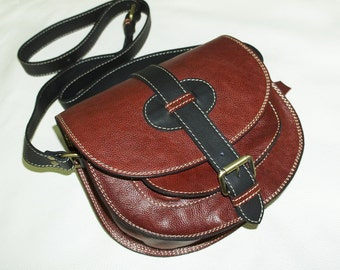 Color Block Red Wine-Black Goldmann S - Leather Messenger - Cross body bag - Messenger