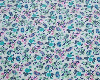 "LAMINATED Cotton  - Blue Flowers and Paisley, 56"" Wide, BPA & PVC Free"