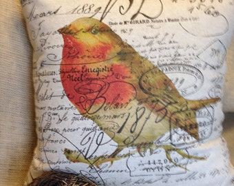 pillow slip cover French Script and Burlap Pillow Slip  Robin by Gathered Comforts