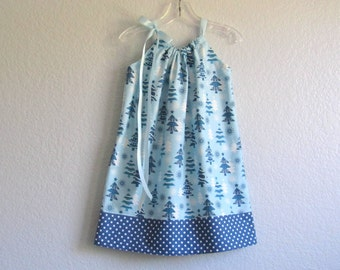 Little Girls Christmas Dress - Whimsical Christmas Trees in Blue and White - Xmas Trees and Polka Dots - Size 12m, 18m, 2T, 3T, 4T,  5 or 6