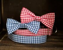 UsagiTeam designer dog collars with bowties for dog and cat GIngham Blue, Red or Purple