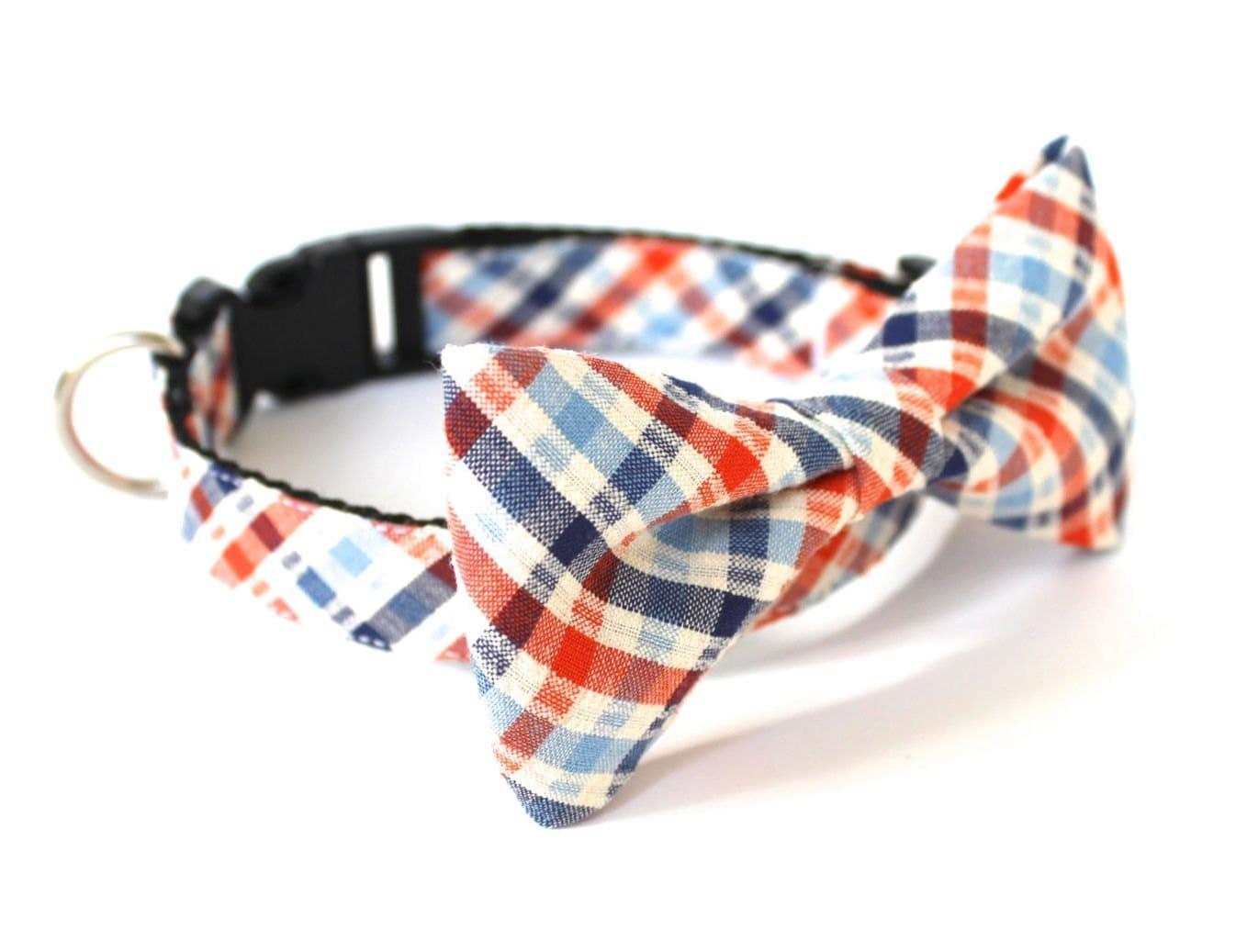 cat bow tie collar seersucker plaid orange blue usagiteam