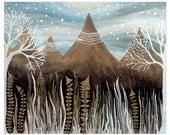 Landscape Art, Home Decor, Fine Art Print-Indigo Woodland