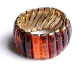 "Vintage Tortoiseshell Expansion Bracelet - Stretch - 1 1/4"" High - 1950"