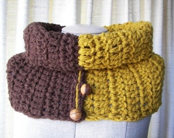Textured Hand Knit COWL in BROWN Wood Mustard vegan Acrylic