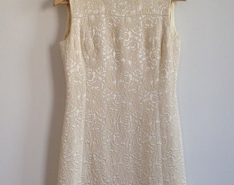 vintage cream floral brocade dress
