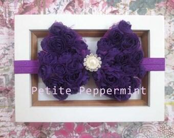 Purple Baby Headband, Baby Bow Headband, Baby Head Band, Baby Hair Bow, Toddler Headband, Little Girl Headband, Infant Headband