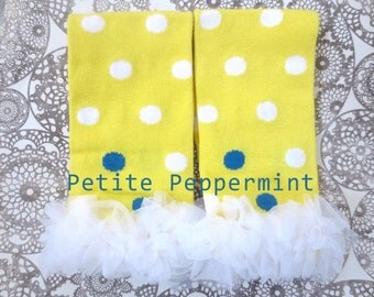 Leg Warmers, Baby Leg Warmers, Baby Leggings, Baby Leg Warmers Girl, Yellow Polka Dot Leg Warmers