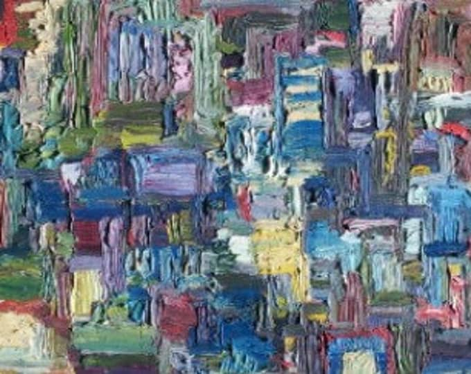 Abstract Oil Painting, Thick Impasto,  26 x 11 inches