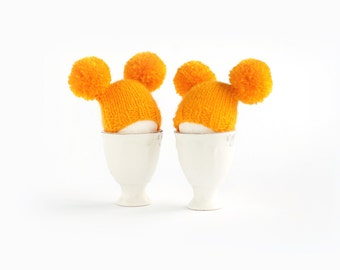 SALE 10% OFF Sunny yellow egg warmers with funny poms
