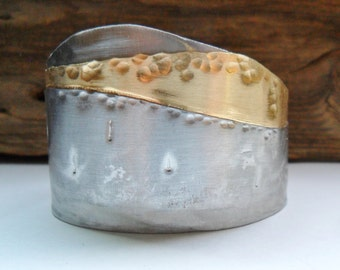 Stainless Steel and Brass Cuff Bracelet