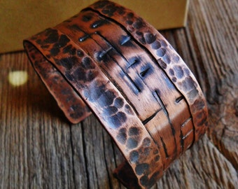 Hammered Textured Sanded Perfect Mens Women Copper Cuff Bracelet