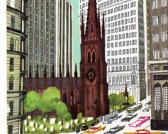 New York print of Trinity Church, 1960s mid century New York City print by Sasek