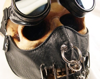 2 pc set Black Hannibal Lector Faux Leather O-Ring Steampunk Dust Riding MASK with Matching GOGGLES - A Burning Man Must Have