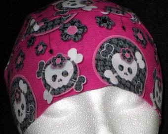 Handmade Pink Chemo or Skull Cap with White Skulls, Hair Loss, Bald, Head Wrap, Biker, Motorcycle, Helmet liner, Alopecia, Kids, Hair Loss