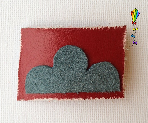 Small Hair Clip made from Reclaimed Leather - Red Cloud Hair Clip