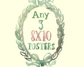 Any three 8X10 prints - Custom Lucileskitchen watercolor painting posters - Kitchen art print set