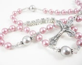 Personalized Swarovski Rosary in Dusty Rose and Gray - Baptism, First Communion, Confirmation Gift for a Girl