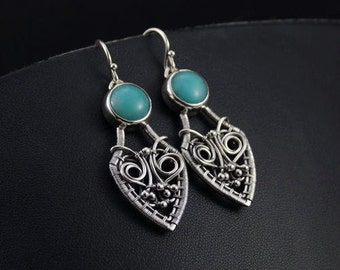 SHIRELL - silver wire wrap earrings with amazonite