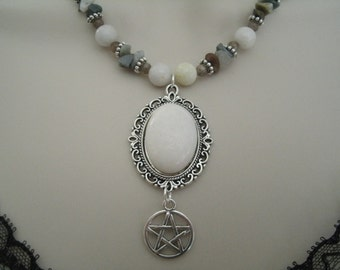 White Jade Pentacle Necklace, wiccan jewelry pagan jewelry wicca jewelry goddess witch witchcraft magic pentagram handfasting metaphysical