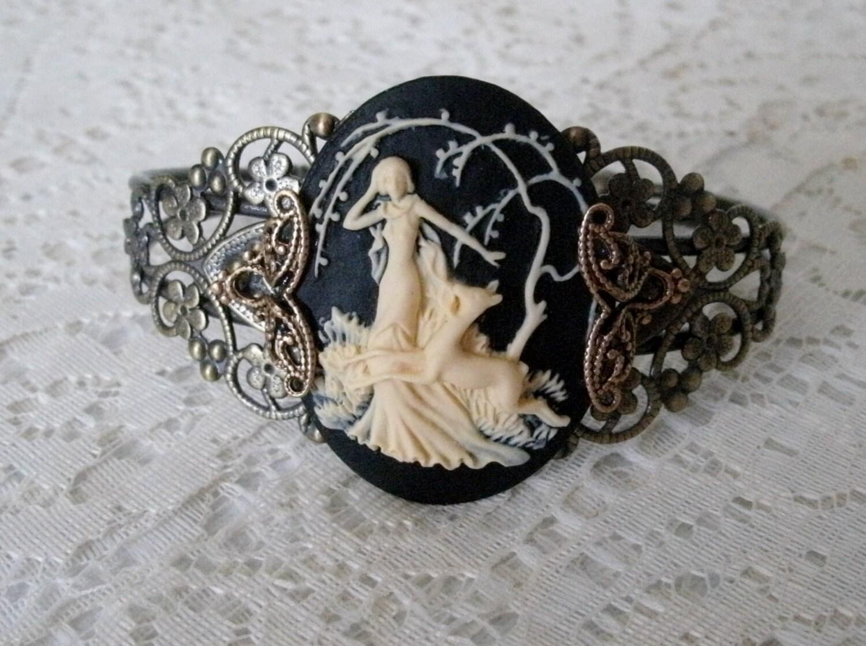 Goddess Diana Cuff Bracelet wiccan jewelry pagan jewelry